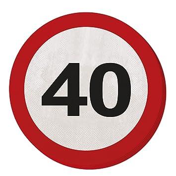 CREATIVE Traffic Sign Fiesta de cumpleaños Servilletas de Papel (20 Unidades), diseño de 40 cumpleaños