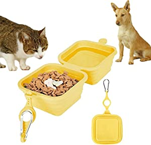 2-in-1 Collapsible Dog Bowl, Food Grade Silicone Dog Bowls for Outdoors, Travelling, Camping, Hiking, Camping, Picnic, Fodable & Large Capacity Pet Food Water Feeding Cup Dish with Carabiner
