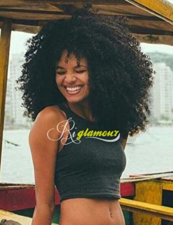 Amazon.com   Riglamour African American Fluffy Afro Kinky Curly Wigs for Black  Women Big Long Tight Curl Hair Synthetic Lace Front Wig  1B (24 Inches)    ... c0826284e