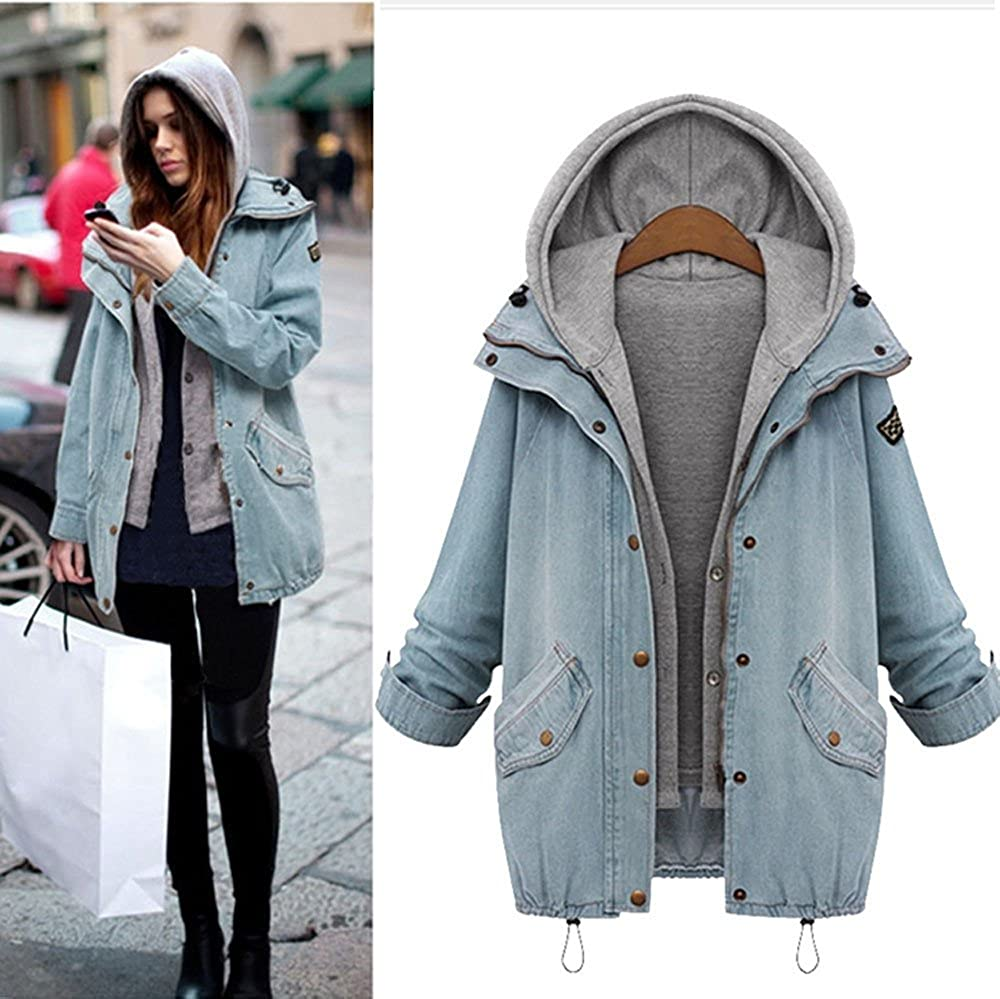 Challyhope Winter Women Warm Collar Hooded Jacket Coat Denim Trench Parka Outwear