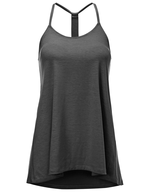 Regna X Women's Scoop Neck Summer Cute Strap cami Sleeveless Tank Tops Grey 2XL