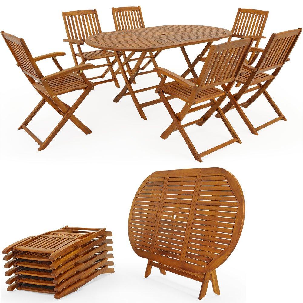Ensemble table et chaises bois salon de jardin pliable manger Meuble ...