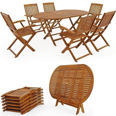 Ensemble table et chaises bois salon de jardin pliable ...