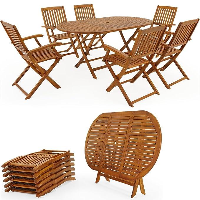 Amazon.de: Set Tisch und Stühle Holz Gartenmöbel, faltbar Essen ...
