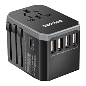 EPICKA Universal Travel Adapter One Worldwide International Wall Charger AC Plug Adaptor with 5.6A Smart Power and and 3.0A USB Type-C For USA EU UK AUS Cell Phone Tablet Laptop (Grey),
