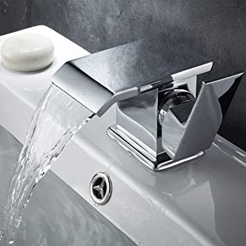 Damoyar Finition chromée de salle de bain Lavabo Robinet mitigeur cascade  Laiton Fixation, chaud et 6052229efdf9