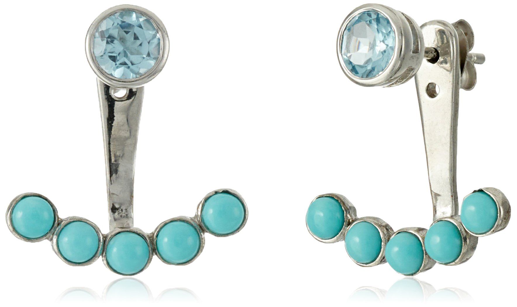 Sterling Silver Genuine Turquoise and Blue Topaz Earring Jackets