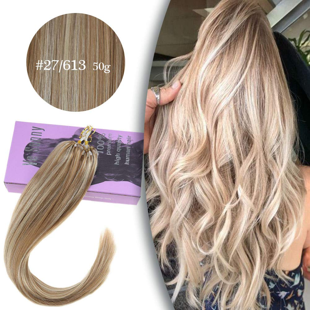 VeSunny 14'' Blonde Micro Loop Human Hair Extensions Piano Color #27 Strawberry Blonde Highlights #613 Bleach Blonde Remy Micro Hair Extensions Real Human Hair With Salon Quality 50G 1G/S by VeSunny