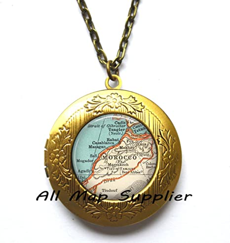 Charming Locket Necklace,Morocco map
