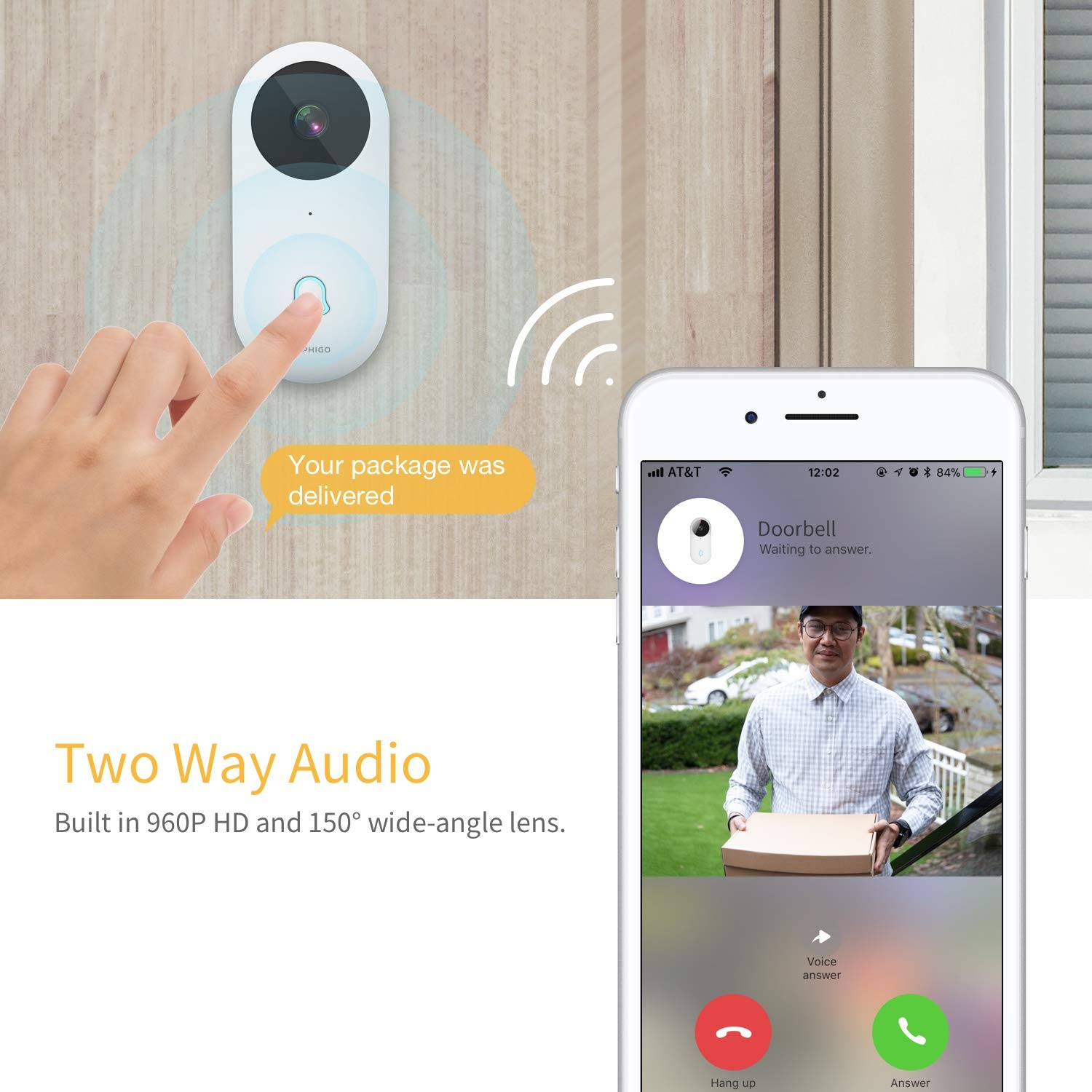 Smart Video Doorbell, Famisafe 960P HD WiFi Security Camera Doorbell with Chime, Real-time HD Video Doorbell, 2-Way Audio, Free Cloud Service, Night Vision and Works with Alexa, APP for iOS Android by Famisafe (Image #2)