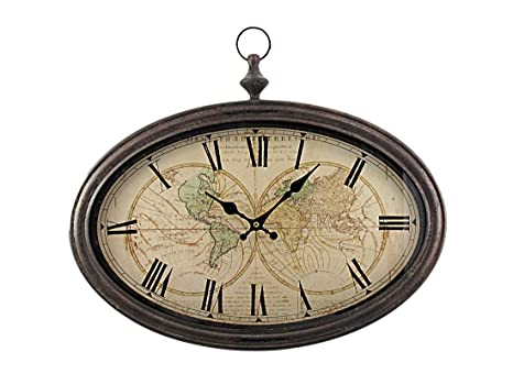 f99c9b901f7 Buy World Map Antiqued Bronze Framed Wall Clock Online at Low Prices in  India - Amazon.in