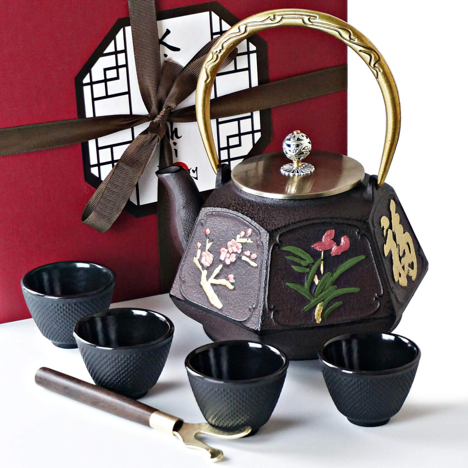 KIYOSHI Luxury Traditional Japanese Cast Iron Tea Set 8 Pieces - Large Teapot (1.3L-44Oz) + 4 Iron Cups + Trivet + Wood Lid Holder - Gift Box - 100% Hand Made - American FDA Approved(Nature Discovery)
