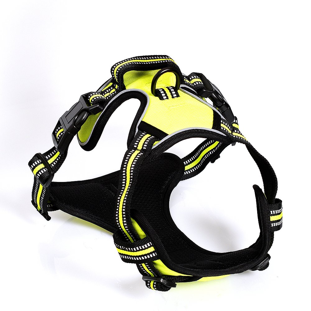 Dog Harness Front Range Dog Harness No Pull Pet Harness 3M Reflective Outdoor Adventure Adjustable Pet Vest with Handle for Pet Walking Training Hiking (M, Green)