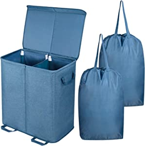 Lifewit Double Laundry Hamper with Lid and Removable Laundry Bags, Large Collapsible 2 Dividers Dirty Clothes Basket with Handles for Bedroom, Laundry Room, Closet, Bathroom, College, Blue