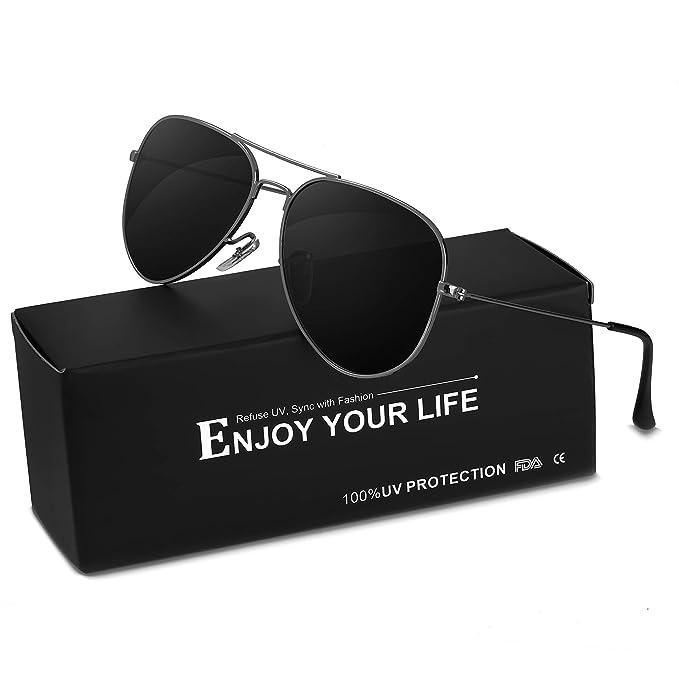 SODQW Polarizadas Gafas de Sol Hombre Mujer Clásico Aviador de Metal Marco 100% UVA/