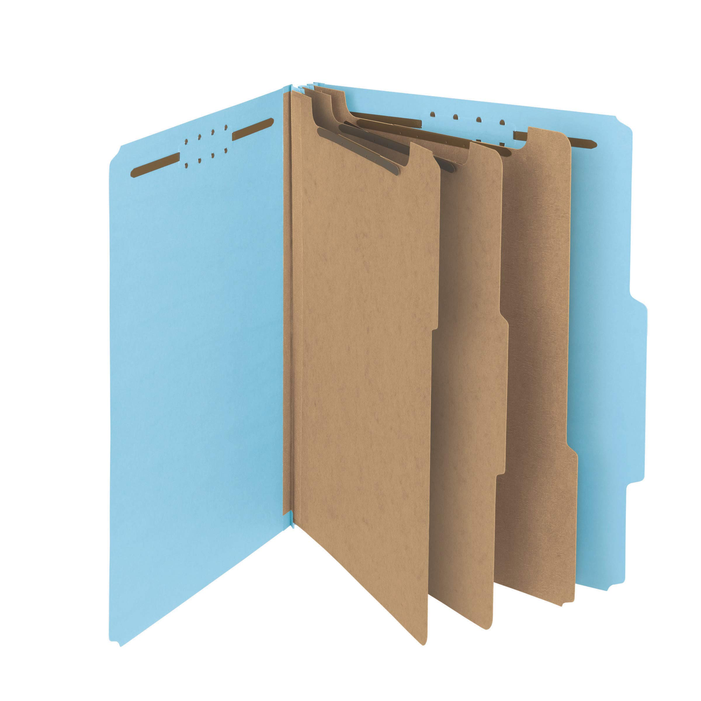 Smead 100% Recycled Pressboard Classification File Folder, 3 Dividers, 3'' Expansion, Letter Size, Blue, 10 per Box (14090) by Smead