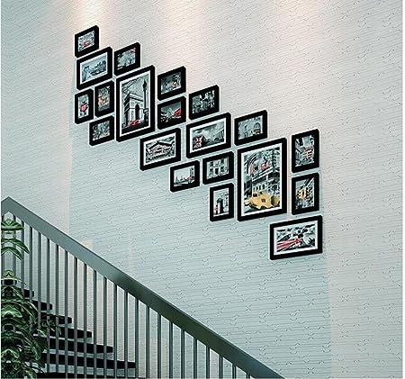Marco decorativo Sala de estar Escalera de madera moderna Foto Escalera de pared Pasillo Foto Escalera de pared Cuadro Combinación de pared (Color : A , Tamaño : 188*200CM) : Amazon.es: Hogar