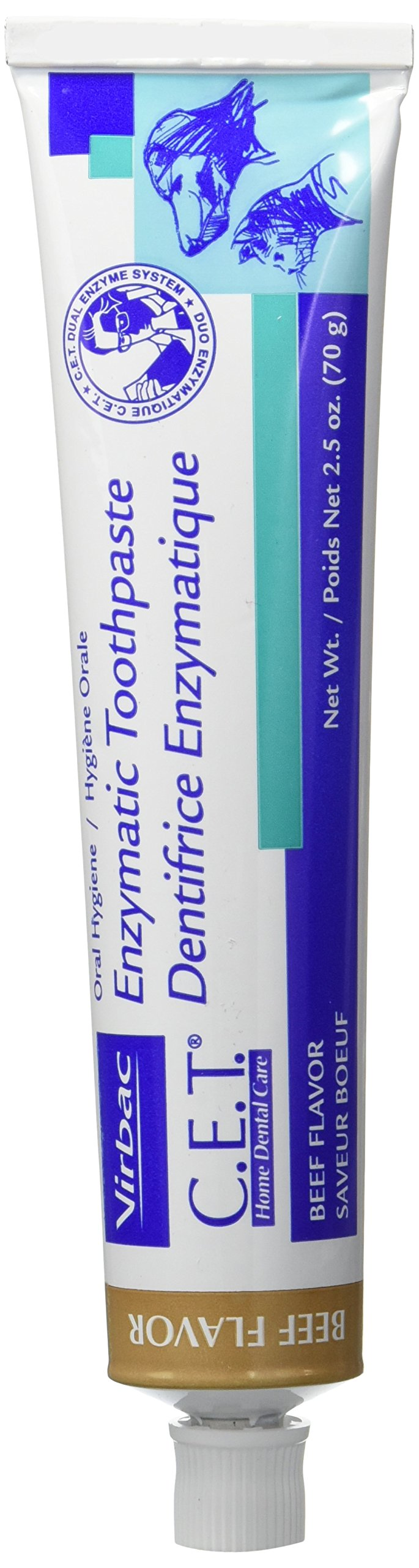CET Virbac Plaque Tartar Control Enzymatic Dog and Cat Toothpaste, 2.5 oz, Beef