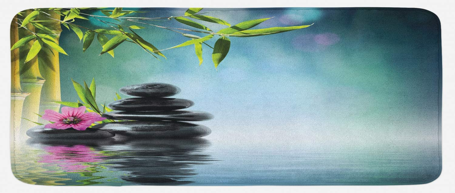 Ambesonne Peace Garden Kitchen Mat, Pink Flower Spa Stones and Bamboo Tree on The Water Relaxation Theraphy Peace, Plush Decorative Kitchen Mat with Non Slip Backing, 47