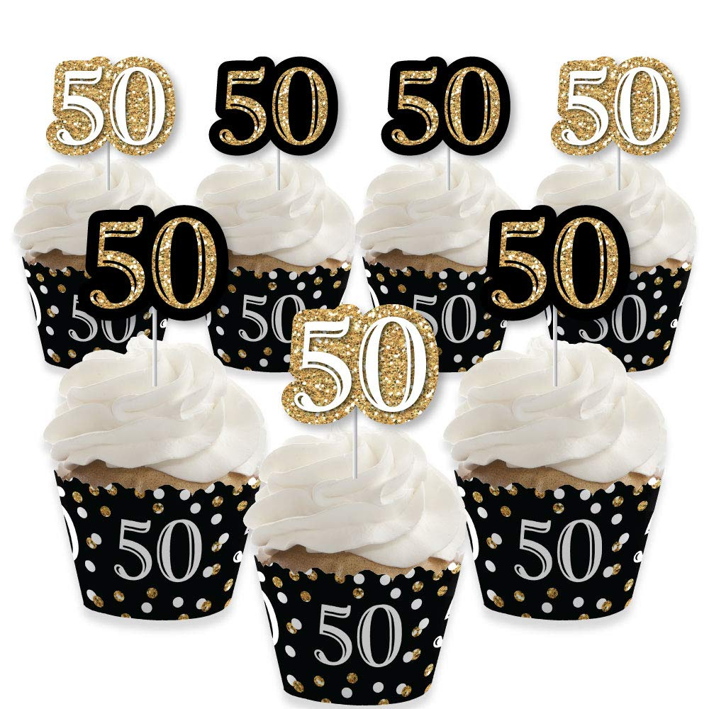 Adult 50th Birthday - Gold - Cupcake Decoration - Birthday Party Cupcake Wrappers and Treat Picks Kit - Set of 24