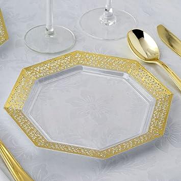 Efavormart 24 Pack 8u0026quot; Gold Trim Octagonal Clear Disposable Partytown Plastic Plates  sc 1 st  Amazon.com & Amazon.com: Efavormart 24 Pack 8