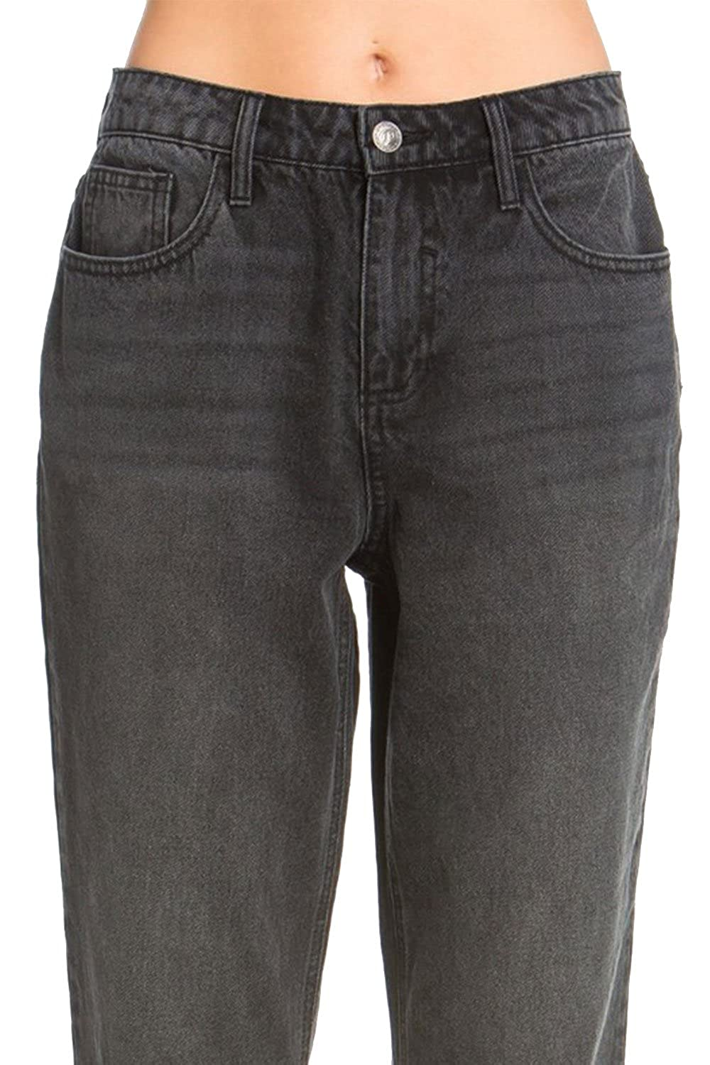 GENx Womens Casual High Rise Double Rolled Jeans Pants AB75794GF 1, Black