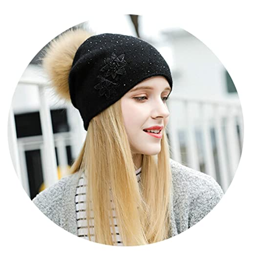 Aooaz Wool Hat Warm Hat for Winter Flower Patterened Knitting Hats Womens  Hat Black Length 56 eb353d35f