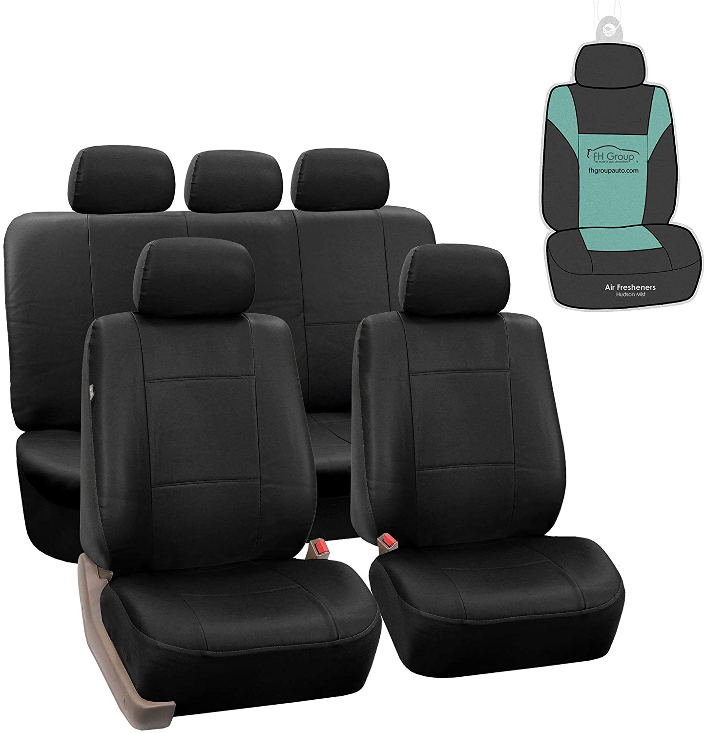 Fh Pu002115 Classic Pu Leather Car Seat Covers Airbag Compatible And Split Bench Black Color Automotive Amazon Com