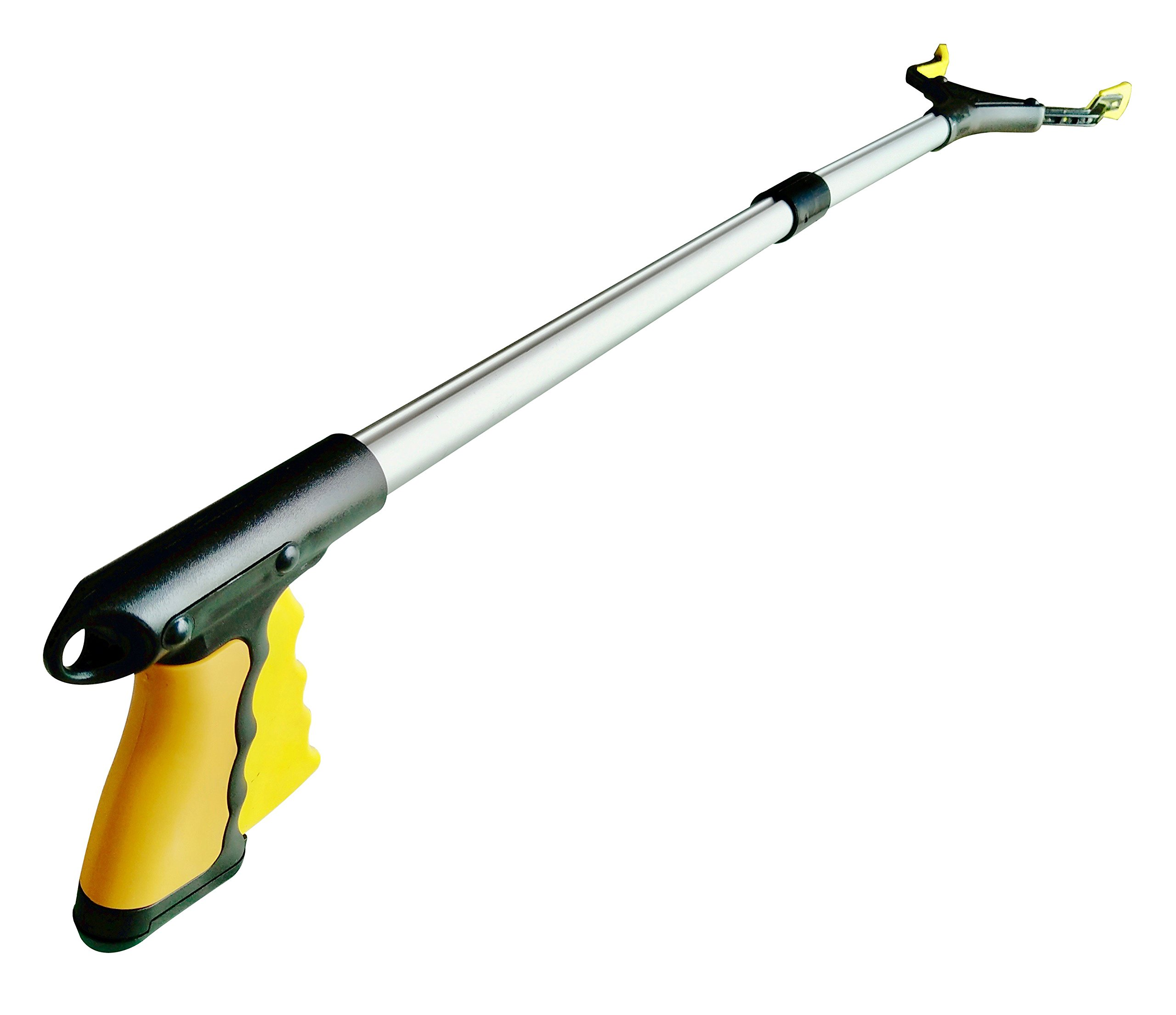 "Large Handle Reacher Grabber with Rotating Grip by ThingWx - 32"" Long Foldable Aluminum Alloy Lightweight and Durable Reaching Aid Tool - Bright Yellow Color"