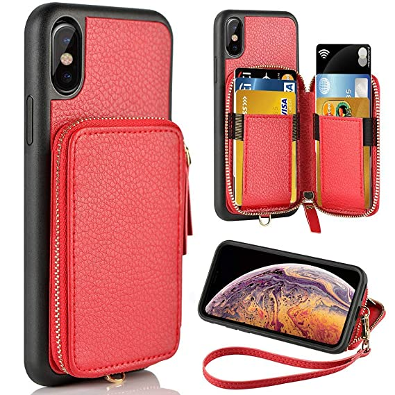 promo code 39016 5f76d ZVE Wallet Case for Apple iPhone Xs and iPhone X, 5.8 inch, Leather Wallet  Case with Credit Card Holder Slot Zipper Wallet Pocket Purse Handbag Wrist  ...
