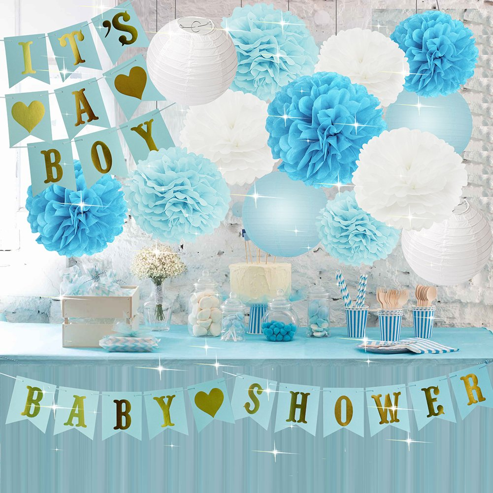Amazon.com: Boy Baby Shower Decorations Boy BABY SHOWER IT'S A BOY Bunting  Banner Baby Blue White Turquoise Tissue Paper Pom Poms Tissue Paper Flowers  Balls ...