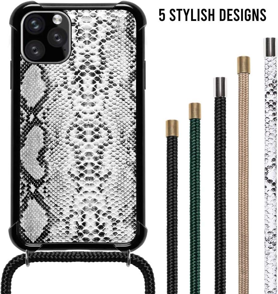 Carcasa con Cuerda Funda Compatible con iPhone 11 Pro MAX Black//Snake Case LOOKABE