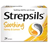 Strepsils Lozenges for Sore Throats Blister Pack, Honey and Lemon, 24ct