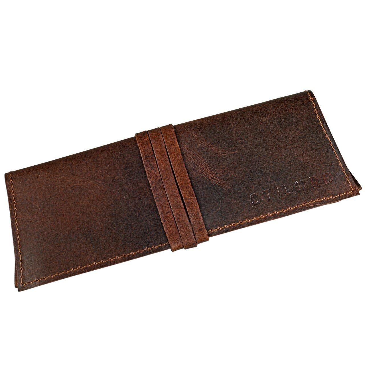 STILORD David Estuche Cuero Vintage Original Cartuchera pequeña Funda para bolígrafos Plumas lápices Estuche para Universidad Oficina Trabajo de ...