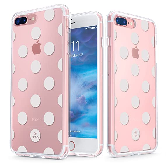 new product 747f7 025a0 True Color Case Compatible with iPhone 7 Plus Dots Case/iPhone 8 Plus Dots  Case Clear-Shield White Polka Dot Printed on Clear Back - Soft and Hard ...
