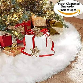 Stock Clearance, One order, Pack of 3) Faldas arbol navidad, Au-Link 36 pulgadas de piel sintética faldas de árbol blanco para Navidad fiesta de año nuevo vacaciones en casa decoraciones: Amazon.es: Bricolaje