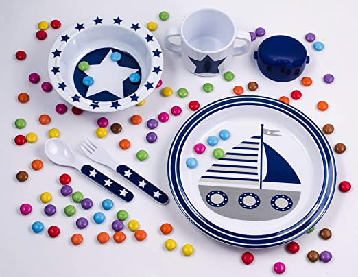 pimpalou 0180539 Melamin Kinder-Geschirr Set Maritim hellblau 5-teilig