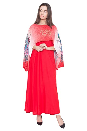 7b4a26721b8 PINKY PARI PONCHO ALINE PRINTED AND EMBELLISHED LAYERED LONG KURTI   Amazon.in  Clothing   Accessories