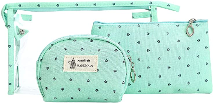 HOYOFO 3 Pcs Makeup Pouches for Purse Small Cosmetic Bags Set Travel Make up Bag Zipper Pouch Set Toiletry Pouch Bag for Women, Green