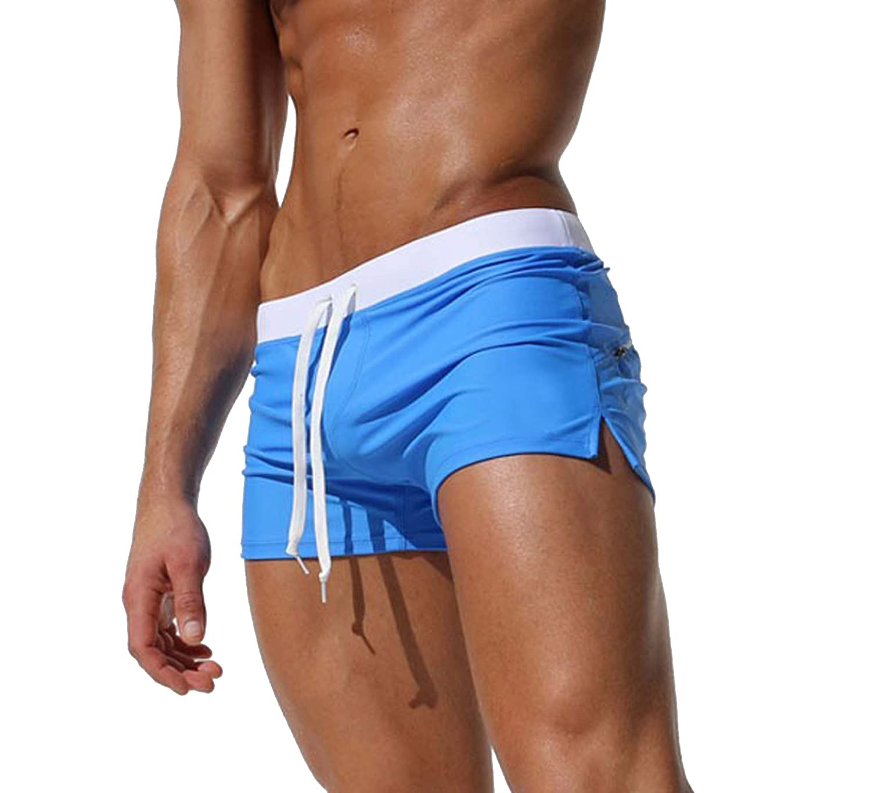 SALENT Men's Swim Tunks Swimming Briefs Swimwear Swimsuit Surf Shorts Pockets