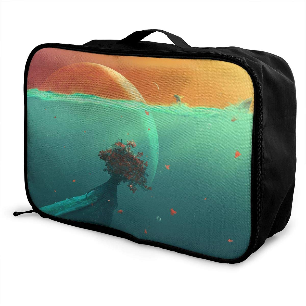 Travel Luggage Duffle Bag Lightweight Portable Handbag Deep Ocean Planet Fish Large Capacity Waterproof Foldable Storage Tote