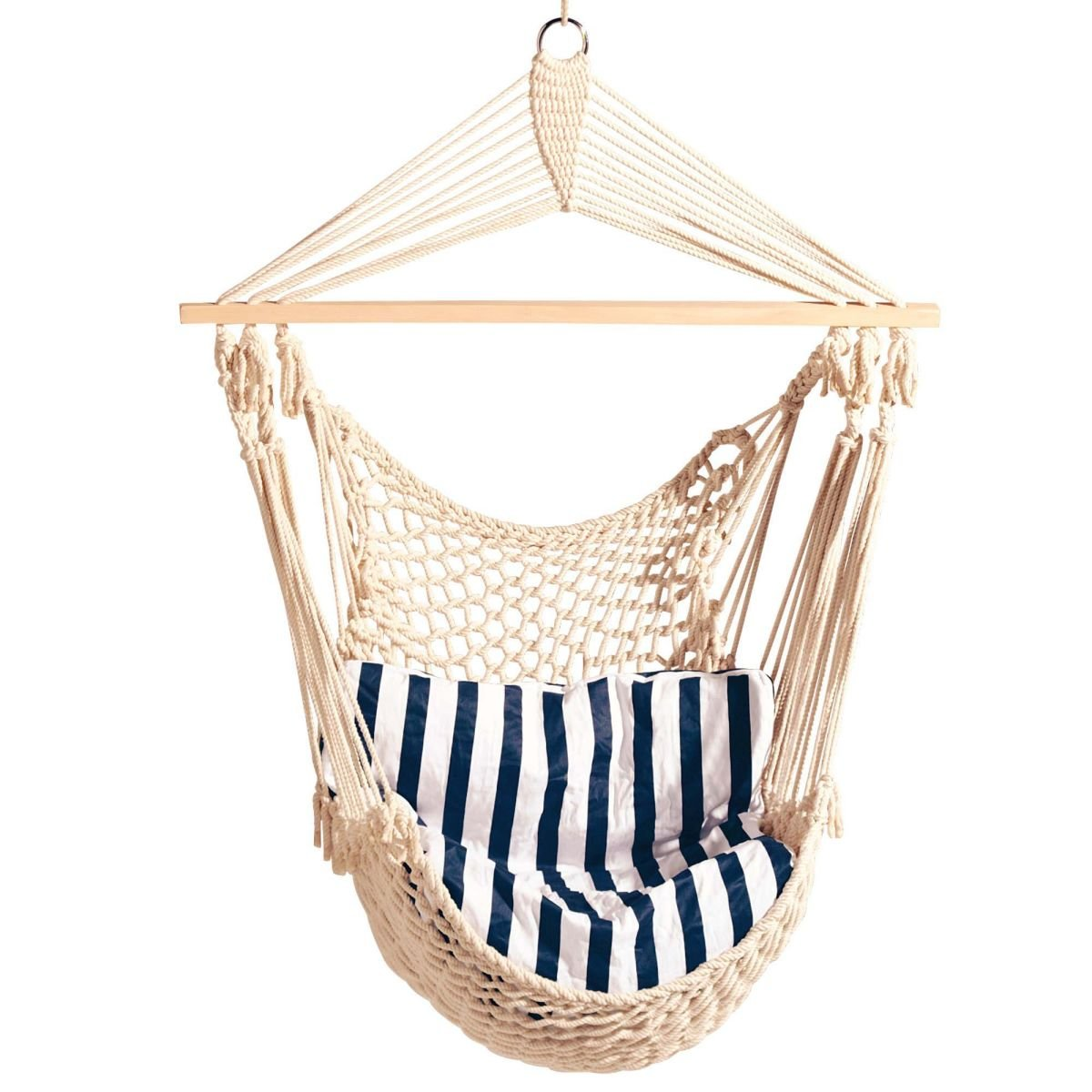 Brasil Hanging Chair Blue and White Stripes PureDay