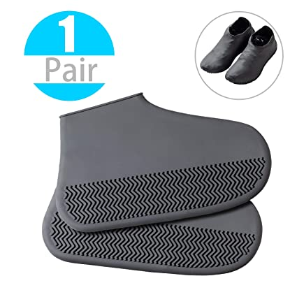 2ad3e06ee14 Reusable Silicone Boot Shoe Covers - DYKEISS Waterproof Rain Protectors  Socks for Men Women Kids, Rubber Washable Slip-Resistant Snow Foldable ...
