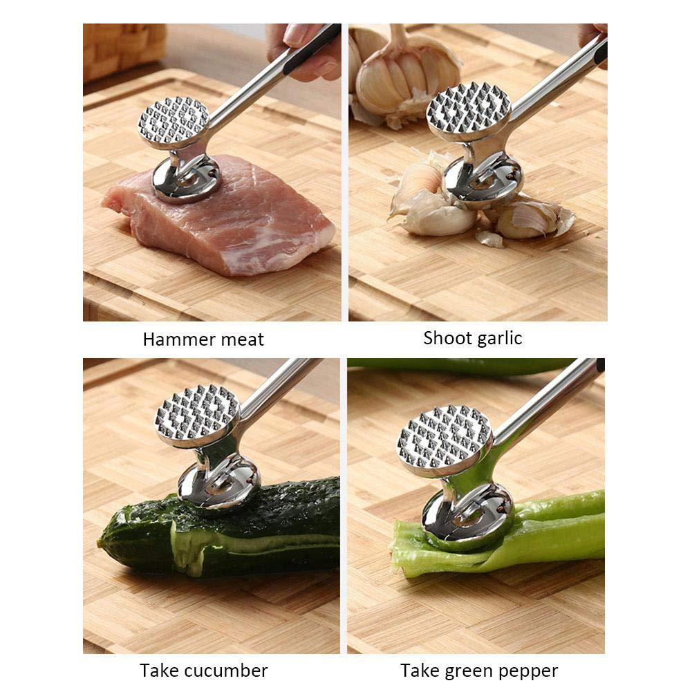 LianLe Meat Tenderizer Hammer Mallet for Steak, Chicken, Fish, Pork, Good Grips, Double Side Metal Meat Tenderiser Pounder Mallet by LianLe (Image #7)
