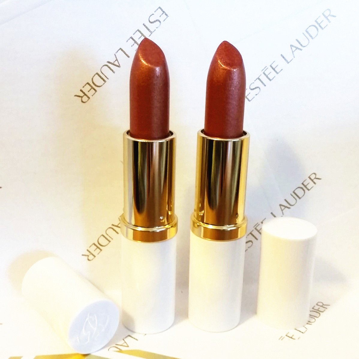 New! Estee Lauder Full Size Lipstick Pure Color 86 Tiger Eye Shimmer Duo Set