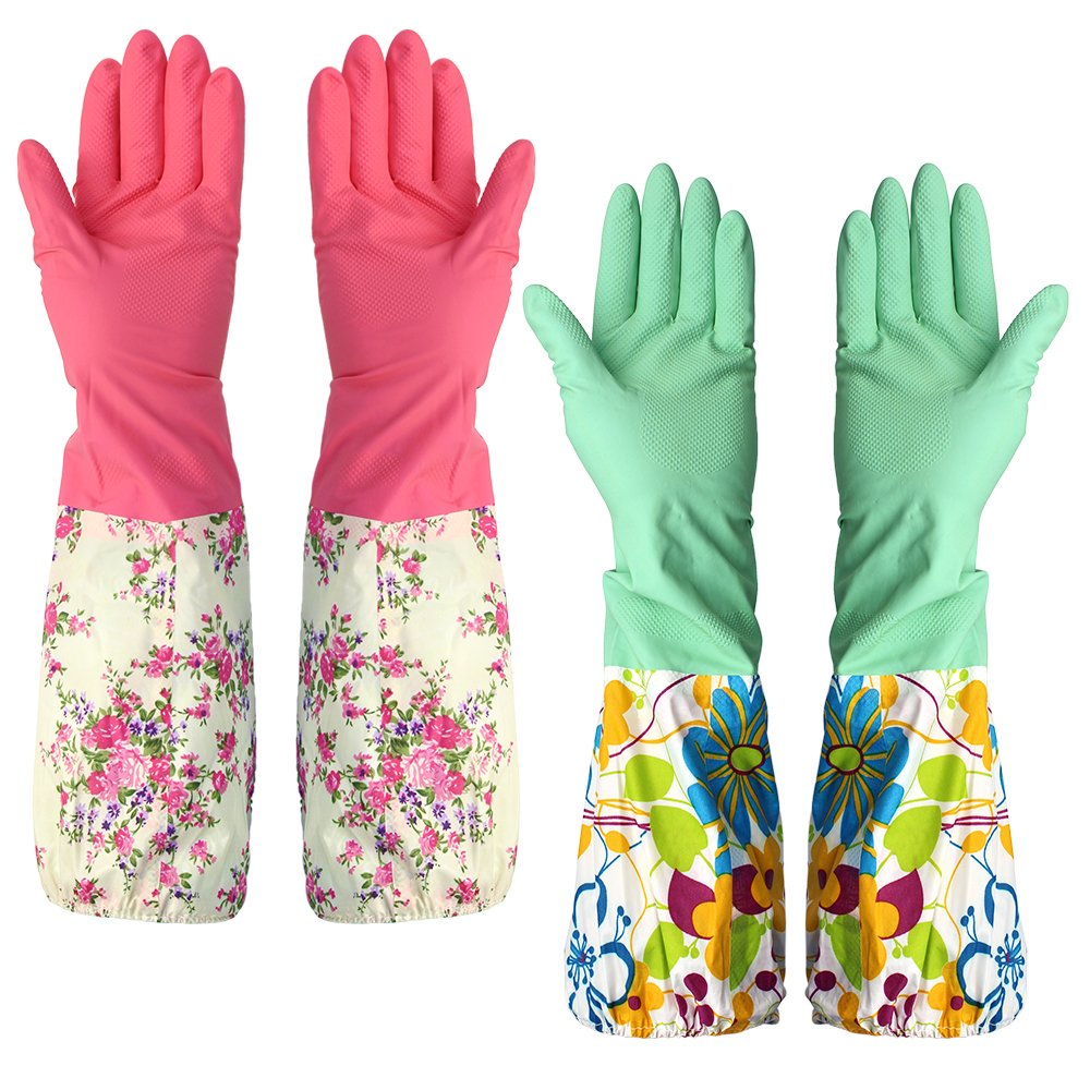 Household Latex Cleaning Gloves Waterproof Gloves with Lining 2 Pairs M-Aimee GLOVES-2PAIRS