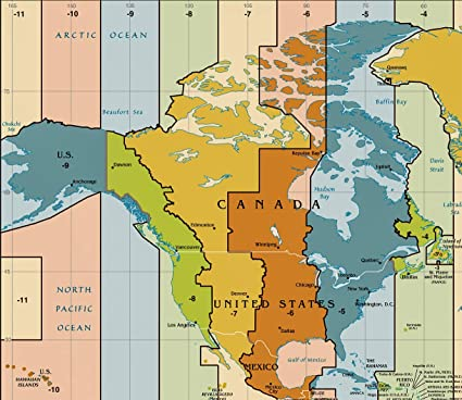 Amazon.com: Home Comforts Laminated Map - Time Zone Map The ...