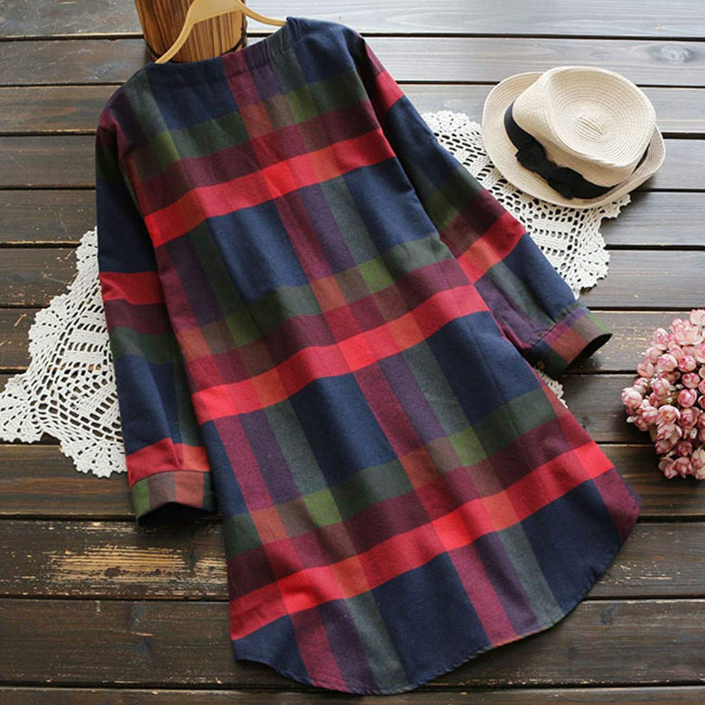 Stekima Womens Ladies Casual Roll UP Sleeve Plaid Loose Baggy Mini T-Shirt Dresses with Pocket for Ladies Fashion Tunic Top Dress Beachwear Evening Party Prom Cocktail Swing Princess Dress