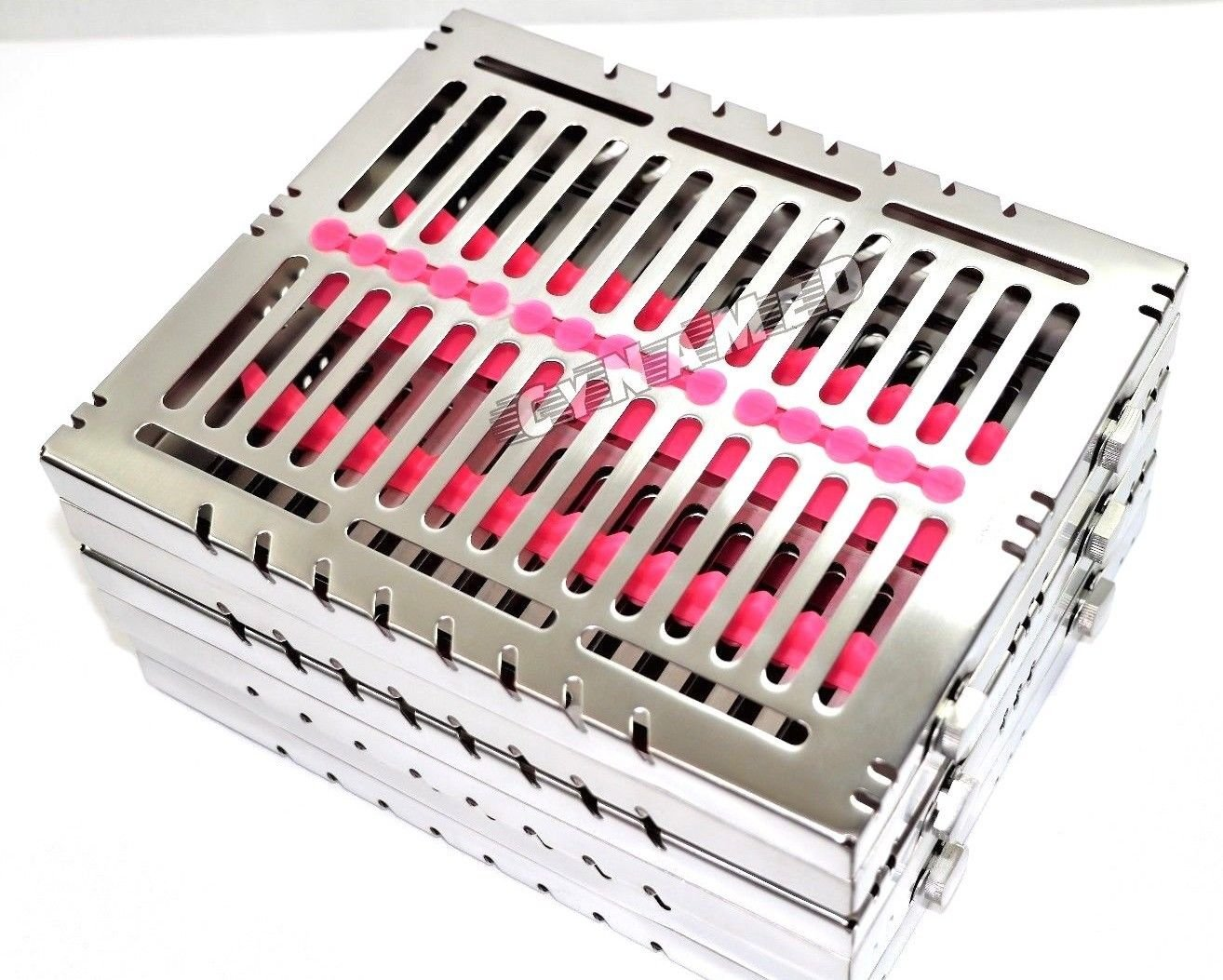 3 German Dental Autoclave Sterilization Cassette Tray for 15 Instruments 8.25X7.25X1.25'' Pink CYNAMED