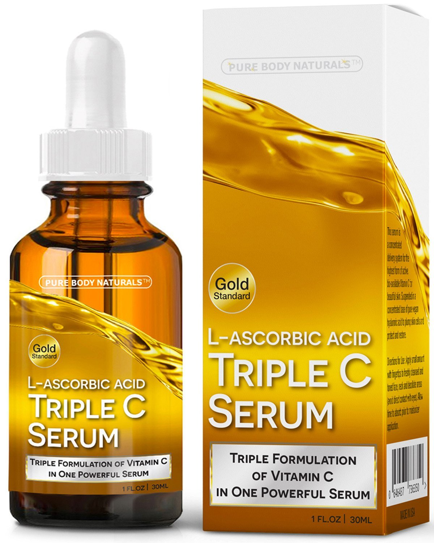 Pure Body Naturals - Serum De Vitamina C Triple C De Pure Body Naturals, Cuidado Facial Tópico Profesional, Ácido L-Ascórbico, 3 Serum De Vitamina C En Uno ...